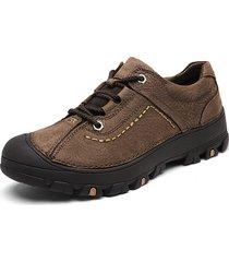 scarpe casual da esterno con lacci anti-collisione in pelle di mucca da uomo
