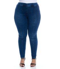calã§a jeans plus size cambos jegging recortes - azul - feminino - dafiti