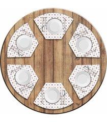 jogo americano love decor para mesa redonda wevans quadrados coloridos kit com 6 pçs
