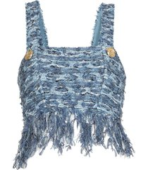 balmain cropped top with fringes