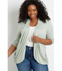 maurices plus size womens green 3/4 sleeve slouchy pocket cardigan