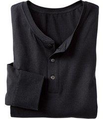 shirt met knoopsluiting en lange mouw, zwart xl