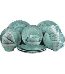 elama malibu waves 16 piece dinnerware set in turquoise