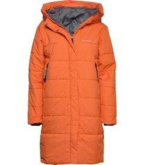 tindra wns puff parka gevoerde lange jas oranje didriksons