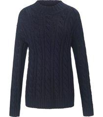 trui van wol en katoen met lange mouwen van peter hahn blauw