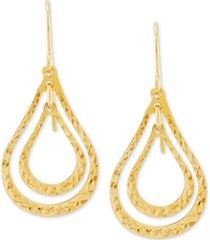textured orbital open teardrop drop earrings in 10k gold