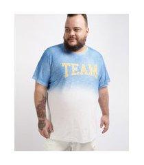 "camiseta masculina plus size degradê team"" manga curta gola careca azul"""