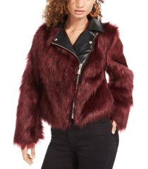 guess savage faux-fur moto coat