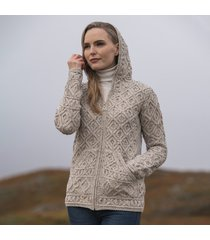 women's kinsale oatmeal aran hoodie cardigan medium