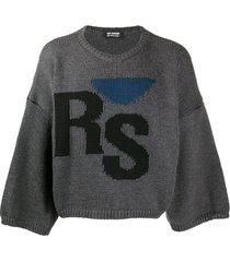 raf simons logo-intarsia wool sweatshirt - grey