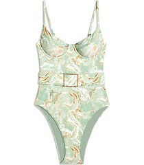 danielle printed belted one-piece swimsuit