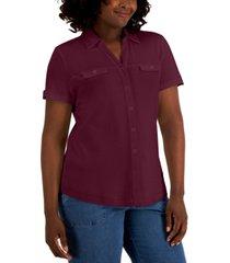 karen scott short sleeve button shirt, created for macy's