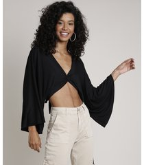 blusa feminina cropped transpassada com amarração manga ampla decote v preta