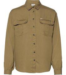 box pleat shirt långärmad skjorta beige lee jeans