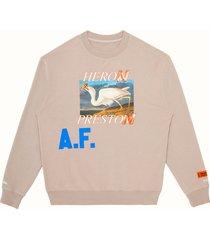 men's heron preston heron a.f. men's graphic sweatshirt, size large - beige