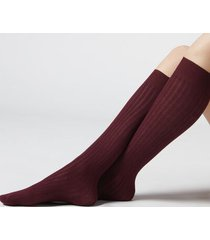 calzedonia women's ribbed long socks with cashmere woman burgundy size 39-41