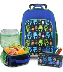 conjunto mochila com rodinhas g, lancheira térmica, estojo menino sapeka robo jacki design azul