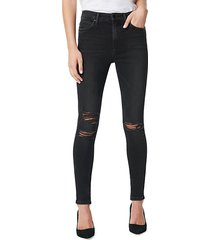 charlie high-rise skinny ankle ripped jeans