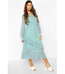 floral print tie neck detail midaxi dress, green
