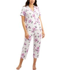 charter club printed short-sleeve top & cropped pajama pants set, created for macy's