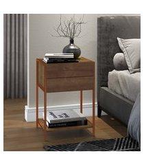 mesa de cabeceira artesano steel quadra 2 gavetas vermont e cobre