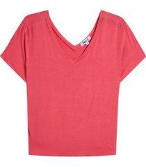 camiseta cuello v manga ranglan color rosado, talla 6