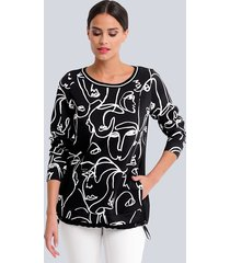 sweatshirt alba moda zwart::wit