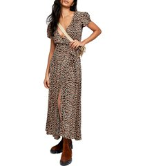 free people gorgeous jess wrap maxi dress, size x-large in neutral combo at nordstrom