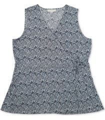 charter club paisley-print wrap top, created for macy's