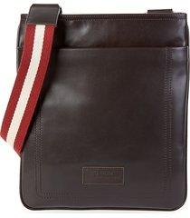 bally men's terino stripe-strap leather crossbody bag - chocolate