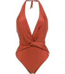 brigitte aline halter neck swimsuit - red