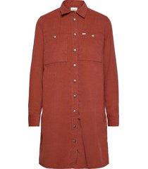 workshirt dress kort klänning röd lee jeans