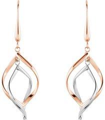 orecchini pendenti lady code acciaio bicolore fantasia per donna