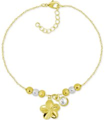 kona bay flower & crystal charm ankle bracelet in gold-plate