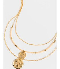 hazel layered coin pendant necklace - champagne