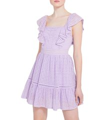 women's alice + olivia remada flutter sleeve eyelet fit & flare dress, size 14 - purple