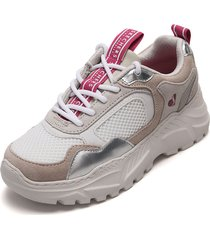 tenis lifestyle beige-blanco skechers kicks love
