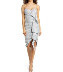 women's lavish alice ruched sequin ruffle dress, size 8 - metallic