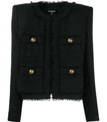 balmain structured tweed jacket - black