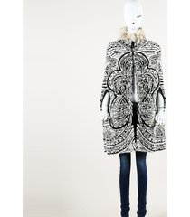 emilio pucci jacquard badger fur cape black/white sz: s