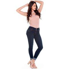 jean skinny oscuro con pinzas