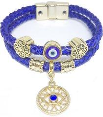 pulseira couro alice monteiro trançada olho grego azul. - kanui