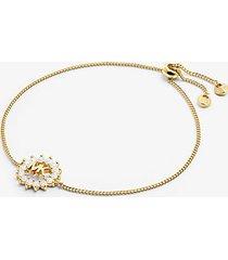 mk braccialetto con cursore in argento sterling con placcatura in metallo prezioso e logo - oro (oro) - michael kors