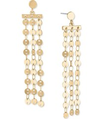rachel rachel roy gold-tone disc chain linear earrings