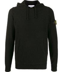 stone island long sleeve logo patch hoodie - black