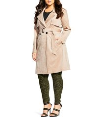 plus size women's city chic faux suede trench coat, size large - beige