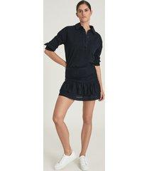 reiss eila - cotton silk blend mini skirt in navy, womens, size 14