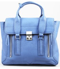 "3.1 phillip lim blue textured leather ""medium pashli"" satchel bag"