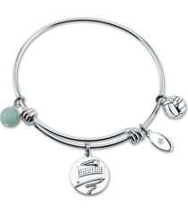 """unwritten """"kiss my ace"""" volleyball charm adjustable bangle bracelet in stainless steel"""