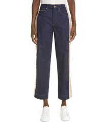 dolce & gabbana brocade trim high waist cotton stretch ankle jeans, size 12 us in multi at nordstrom